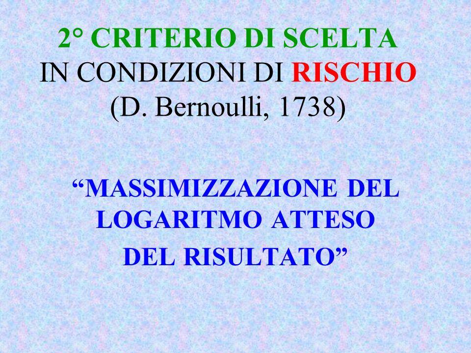 2° CRITERIO DI SCELTA IN CONDIZIONI DI RISCHIO (D. Bernoulli, 1738)