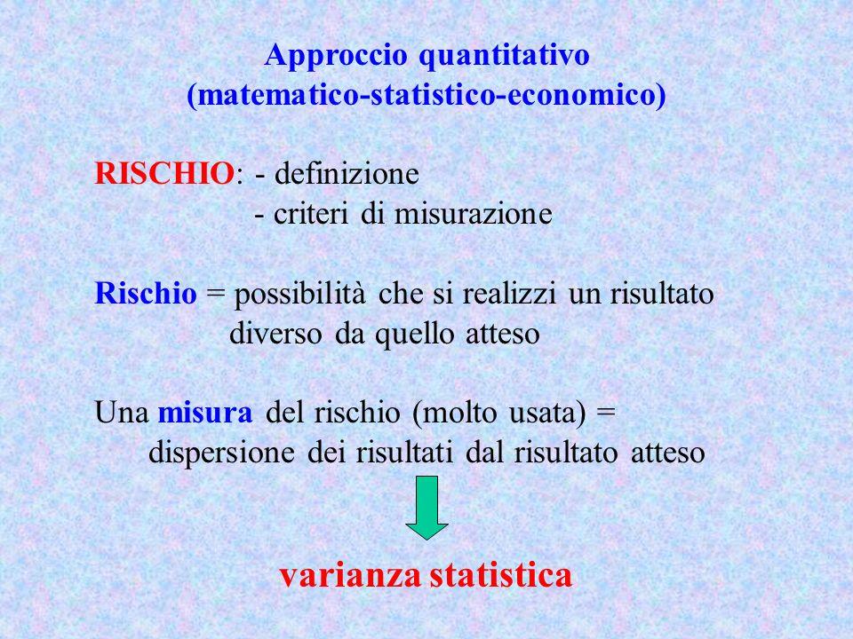 Approccio quantitativo (matematico-statistico-economico)