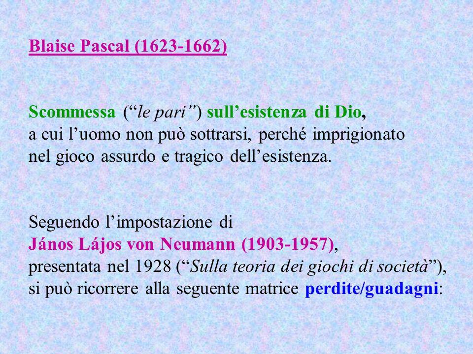 Blaise Pascal (1623-1662) Scommessa ( le pari ) sull'esistenza di Dio, a cui l'uomo non può sottrarsi, perché imprigionato.