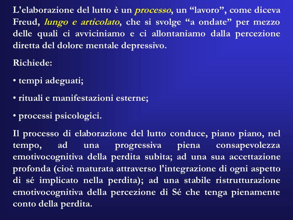 L elaborazione del lutto è un processo, un lavoro , come diceva Freud, lungo e articolato, che si svolge a ondate per mezzo delle quali ci avviciniamo e ci allontaniamo dalla percezione diretta del dolore mentale depressivo.