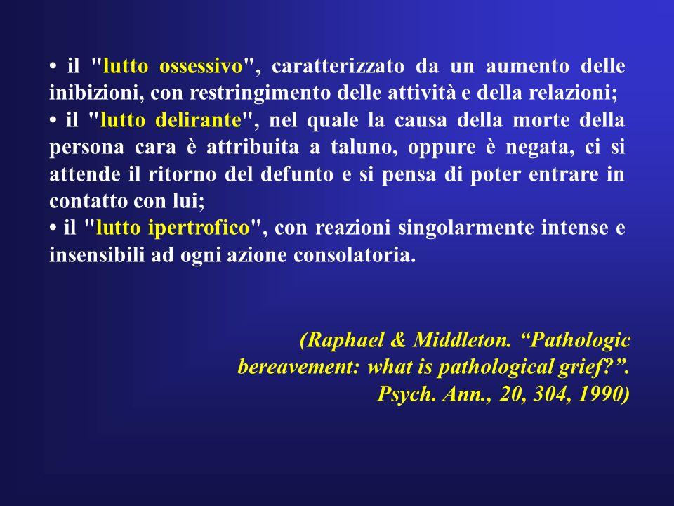 • il lutto ossessivo , caratterizzato da un aumento delle inibizioni, con restringimento delle attività e della relazioni;