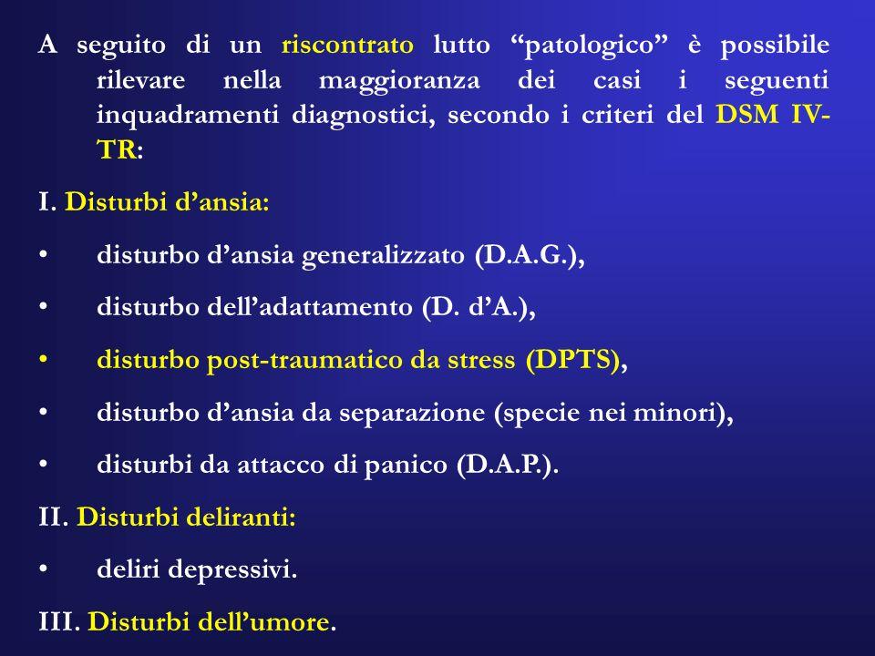 A seguito di un riscontrato lutto patologico è possibile rilevare nella maggioranza dei casi i seguenti inquadramenti diagnostici, secondo i criteri del DSM IV-TR: