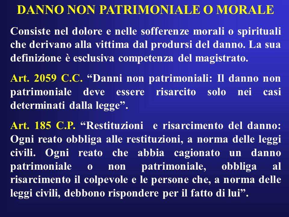 DANNO NON PATRIMONIALE O MORALE