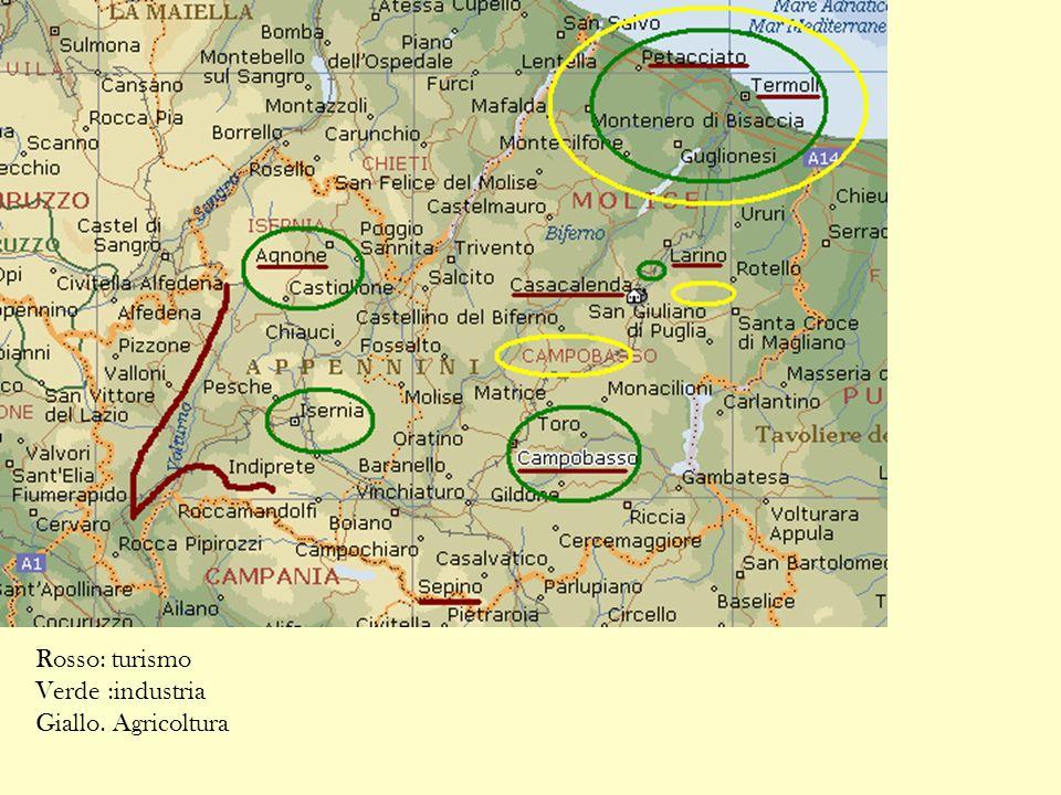 Rosso: turismo Verde :industria Giallo. Agricoltura