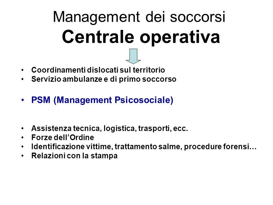 Management dei soccorsi Centrale operativa