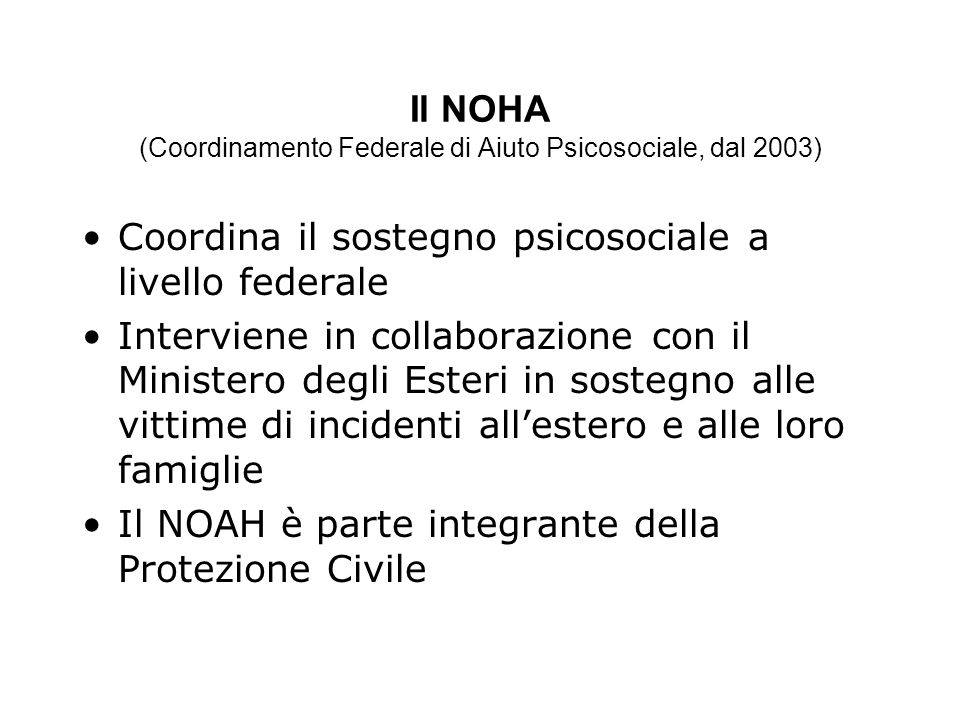 Il NOHA (Coordinamento Federale di Aiuto Psicosociale, dal 2003)