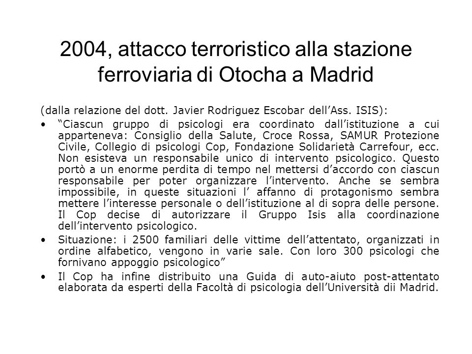 2004, attacco terroristico alla stazione ferroviaria di Otocha a Madrid