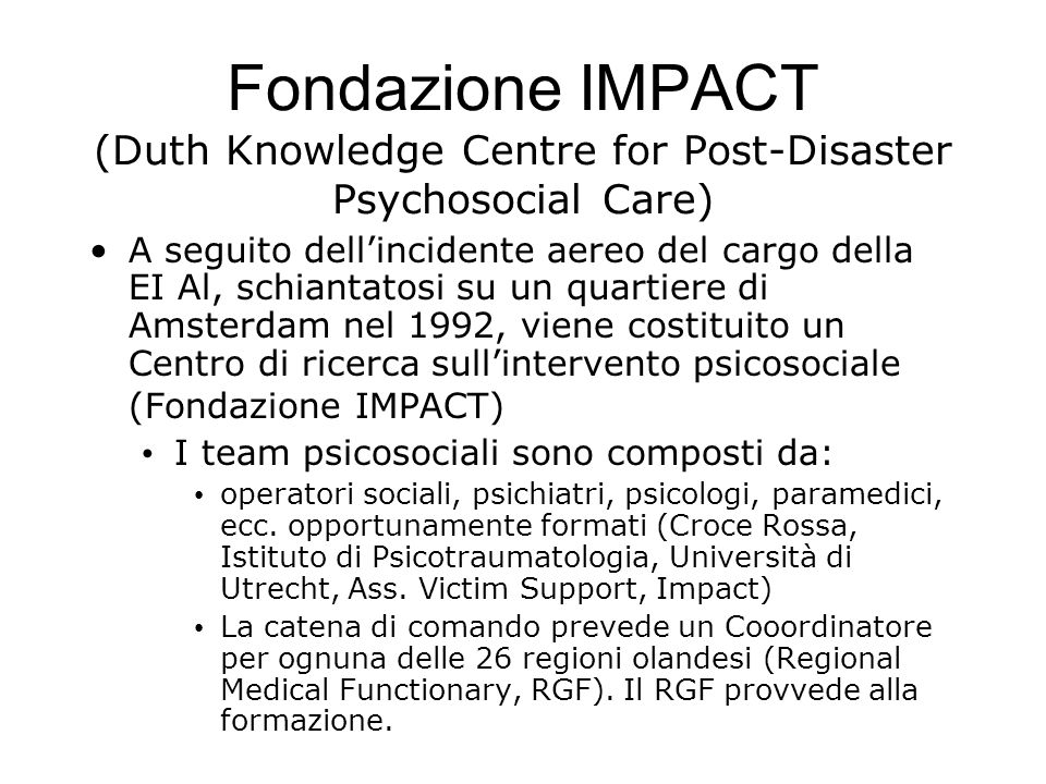 Fondazione IMPACT (Duth Knowledge Centre for Post-Disaster Psychosocial Care)