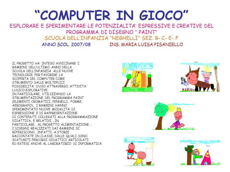 COMPUTER IN GIOCO ESPLORARE E SPERIMENTARE LE POTENZIALITA' ESPRESSIVE E CREATIVE DEL PROGRAMMA DI DISEGNO PAINT SCUOLA DELL'INFANZIA NEGHELLI SEZ. B- C- E- F ANNO SCOL. 2007/08 INS. MARIA LUISA PISANIELLO