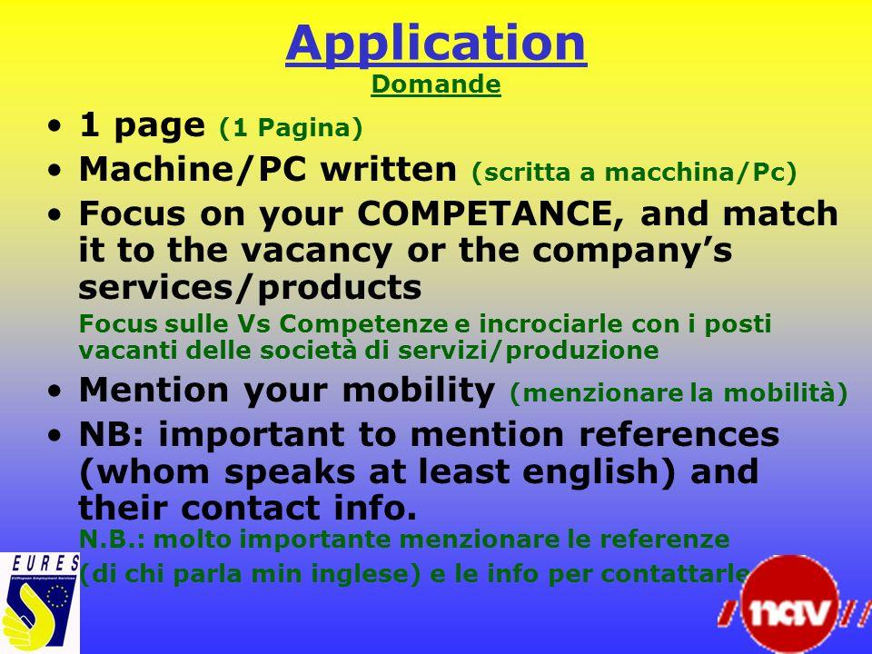 Application Domande 1 page (1 Pagina)