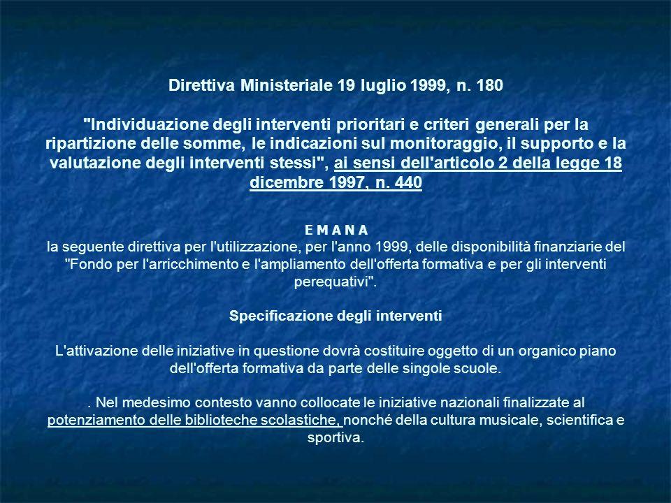 Direttiva Ministeriale 19 luglio 1999, n