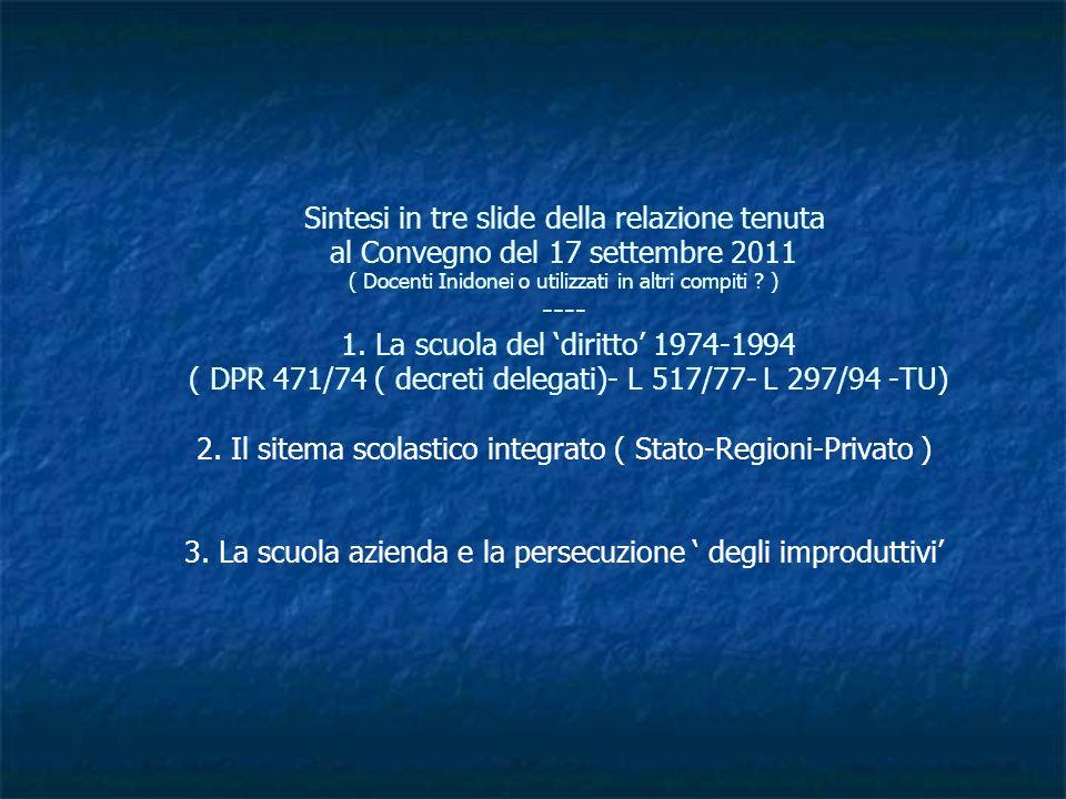 Sintesi in tre slide della relazione tenuta al Convegno del 17 settembre 2011 ( Docenti Inidonei o utilizzati in altri compiti .