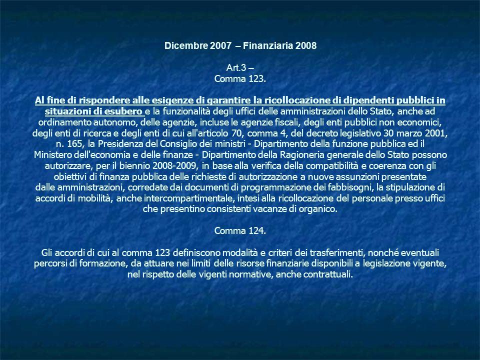 Dicembre 2007 – Finanziaria 2008 Art. 3 – Comma 123