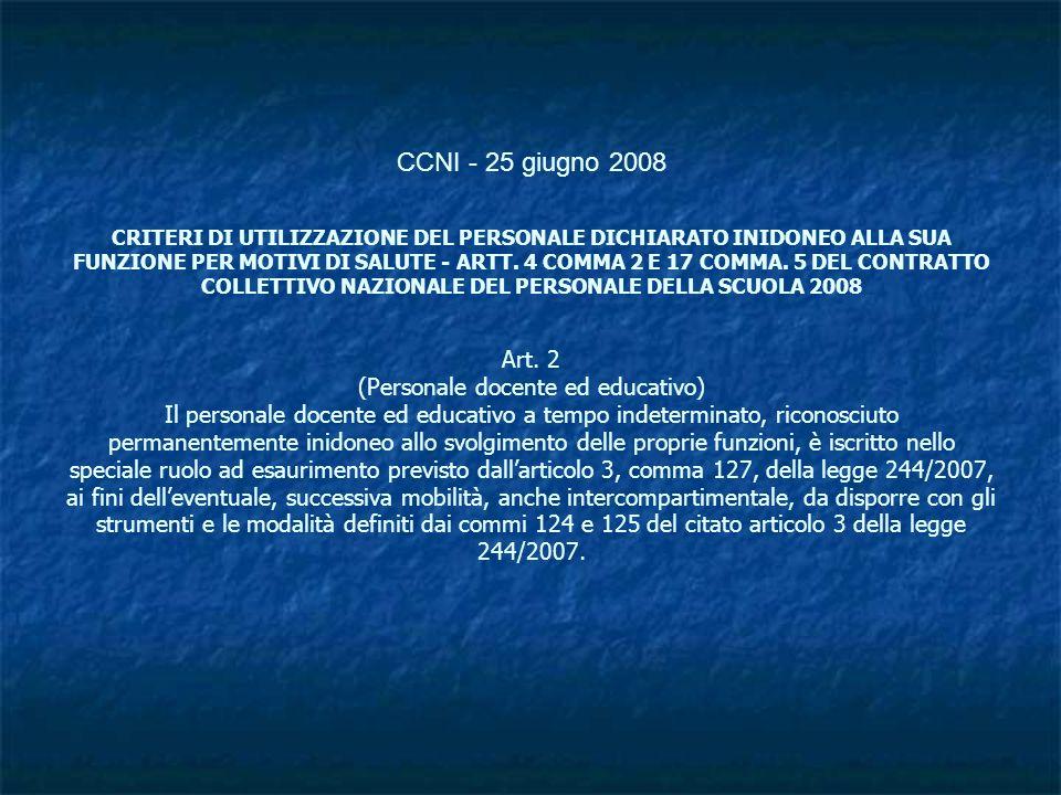 CCNI - 25 giugno 2008 CRITERI DI UTILIZZAZIONE DEL PERSONALE DICHIARATO INIDONEO ALLA SUA FUNZIONE PER MOTIVI DI SALUTE - ARTT.