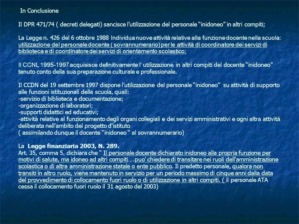 In Conclusione Il DPR 471/74 ( decreti delegati) sancisce l'utilizzazione del personale inidoneo in altri compiti; La Legge n.