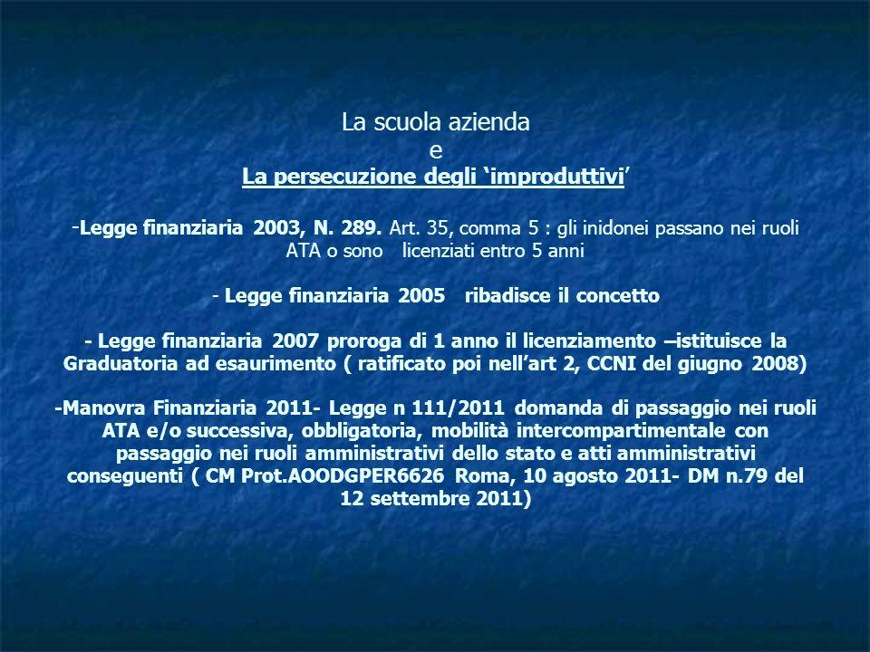 La scuola azienda e La persecuzione degli 'improduttivi' -Legge finanziaria 2003, N.