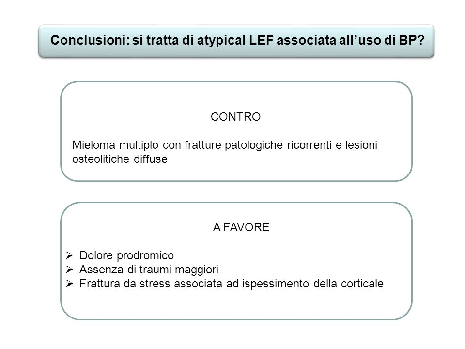 Conclusioni: si tratta di atypical LEF associata all'uso di BP