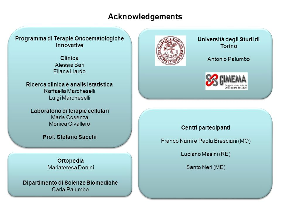 Acknowledgements Programma di Terapie Oncoematologiche Innovative