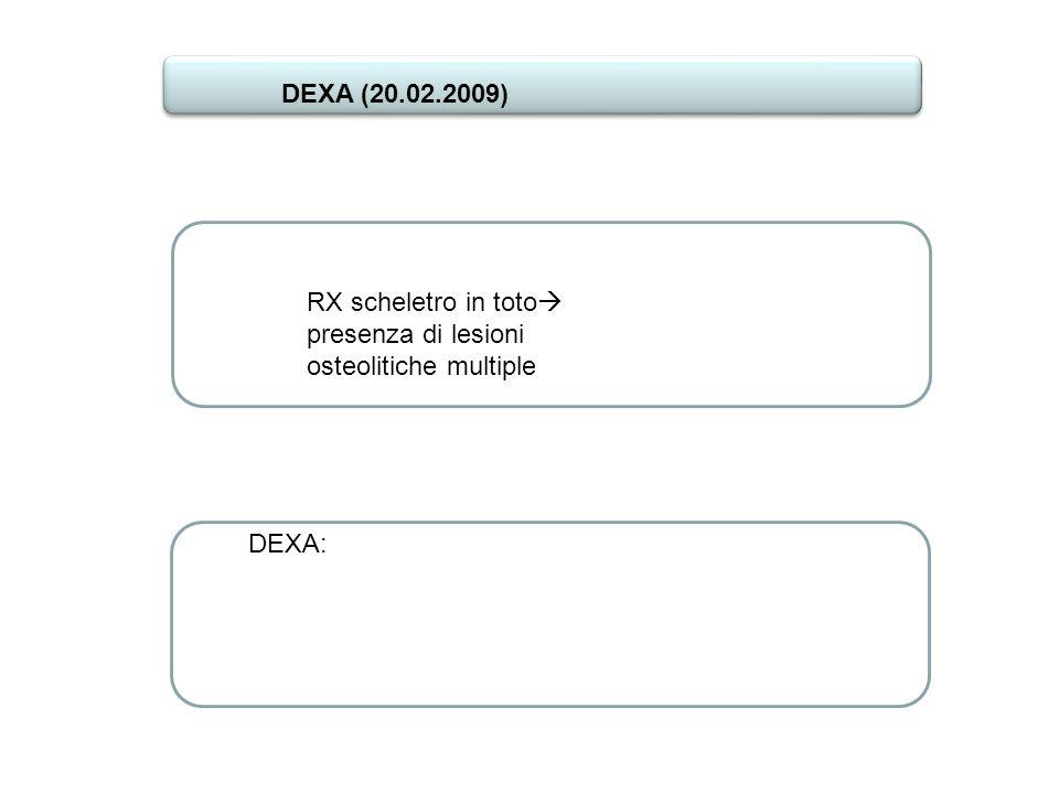 DEXA (20.02.2009) RX scheletro in toto presenza di lesioni osteolitiche multiple DEXA: