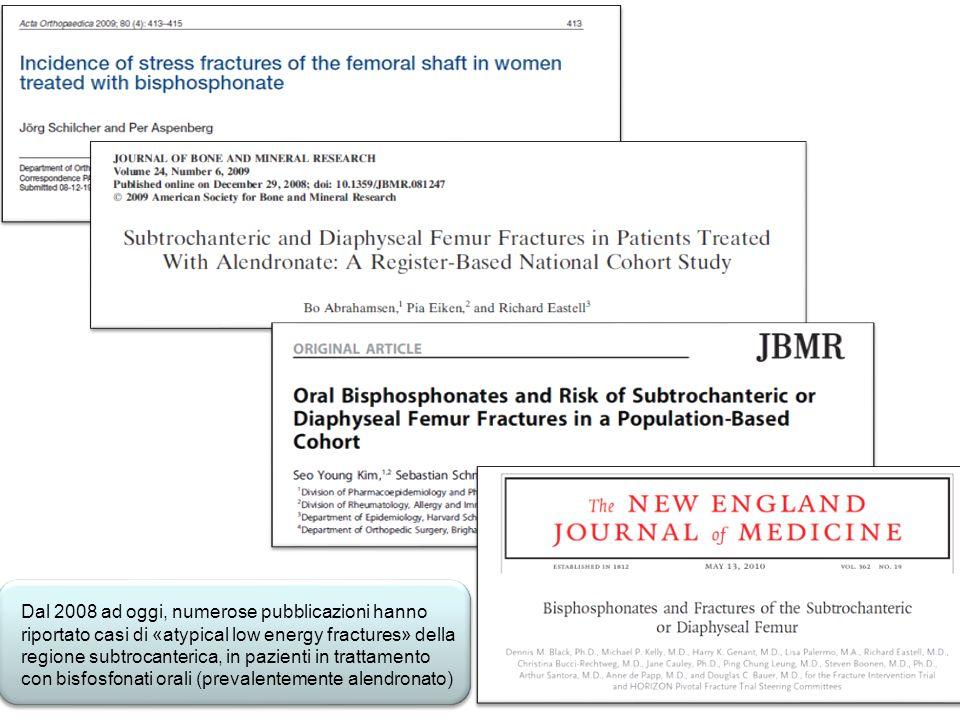 Dal 2008 ad oggi, numerose pubblicazioni hanno riportato casi di «atypical low energy fractures» della regione subtrocanterica, in pazienti in trattamento con bisfosfonati orali (prevalentemente alendronato)