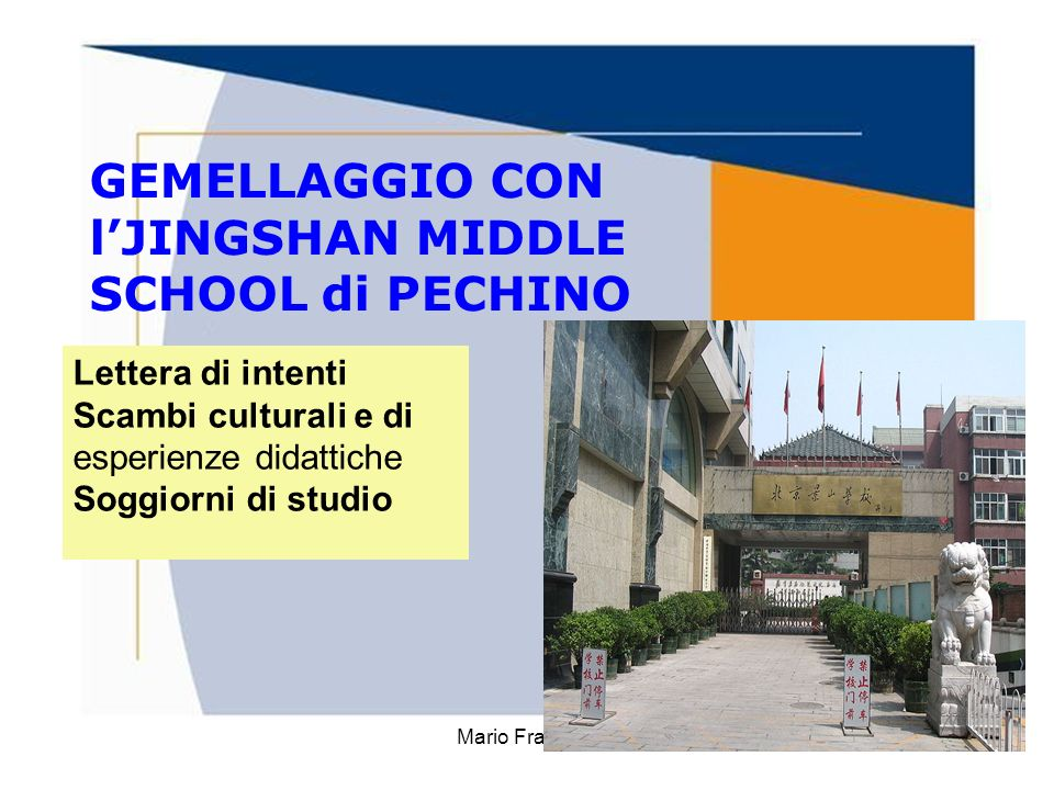 GEMELLAGGIO CON l'JINGSHAN MIDDLE SCHOOL di PECHINO