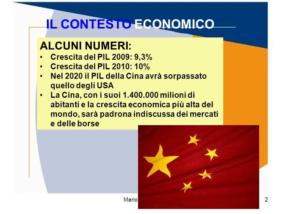 IL CONTESTO ECONOMICO ALCUNI NUMERI: Crescita del PIL 2009: 9,3%