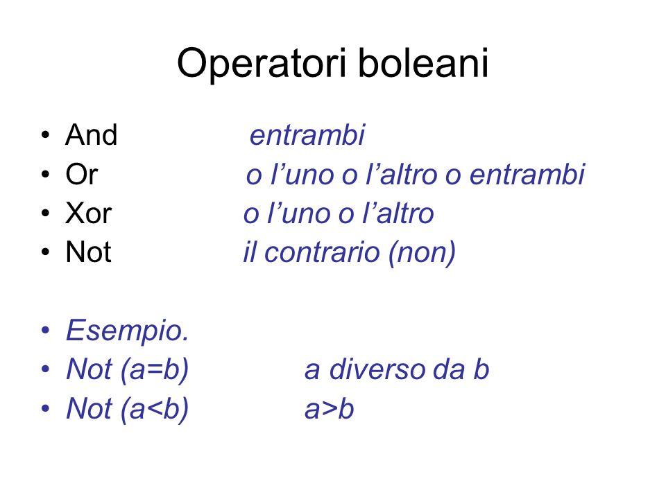 Operatori boleani And entrambi Or o l'uno o l'altro o entrambi