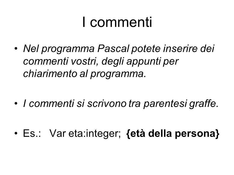 I commenti Nel programma Pascal potete inserire dei commenti vostri, degli appunti per chiarimento al programma.