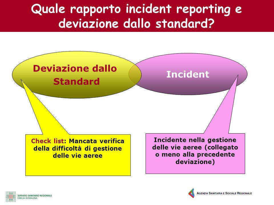 Quale rapporto incident reporting e deviazione dallo standard
