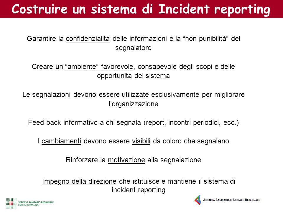 Costruire un sistema di Incident reporting