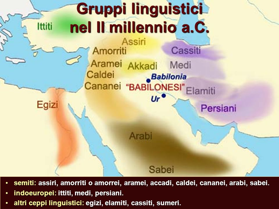 Gruppi linguistici nel II millennio a.C.
