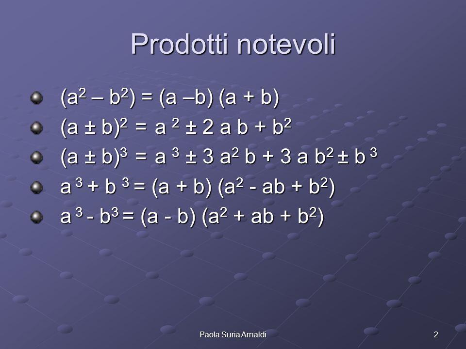 Prodotti notevoli (a2 – b2) = (a –b) (a + b)