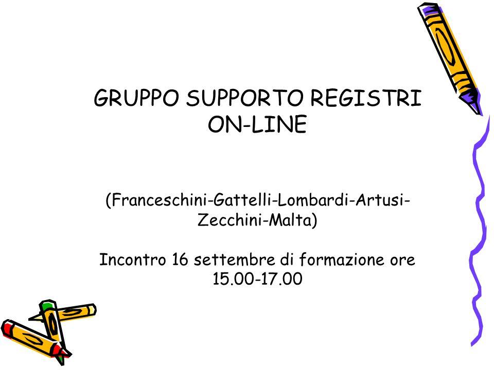 GRUPPO SUPPORTO REGISTRI ON-LINE (Franceschini-Gattelli-Lombardi-Artusi-Zecchini-Malta) Incontro 16 settembre di formazione ore 15.00-17.00