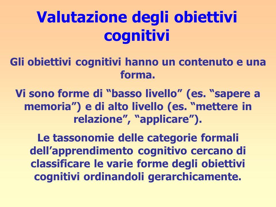Valutazione degli obiettivi cognitivi