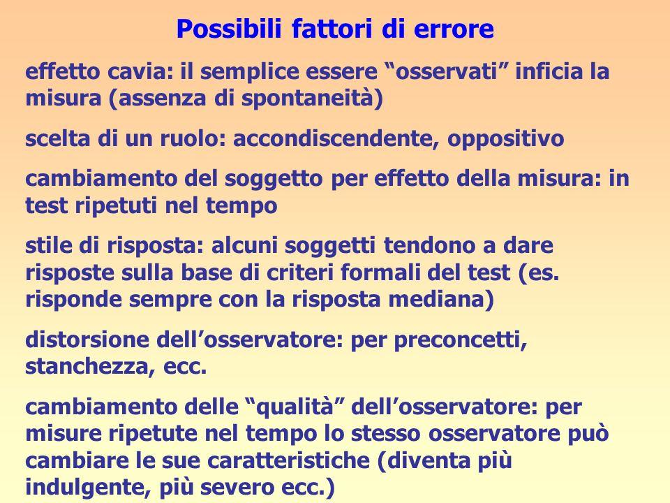Possibili fattori di errore