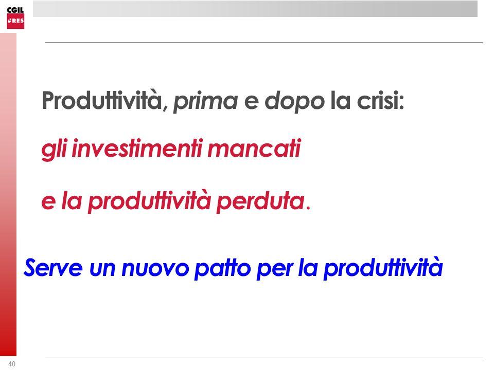 Produttività, prima e dopo la crisi: gli investimenti mancati