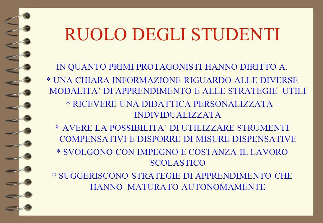 RUOLO DEGLI STUDENTI