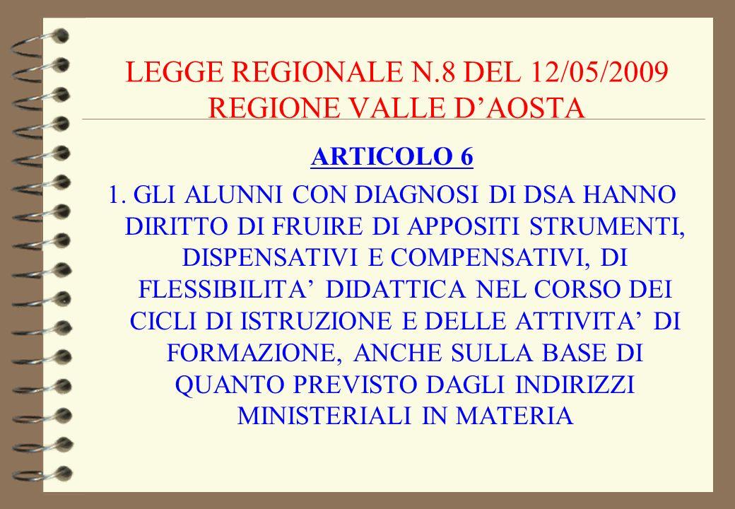 LEGGE REGIONALE N.8 DEL 12/05/2009 REGIONE VALLE D'AOSTA