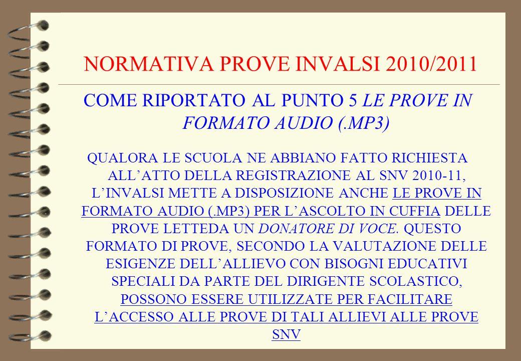 NORMATIVA PROVE INVALSI 2010/2011
