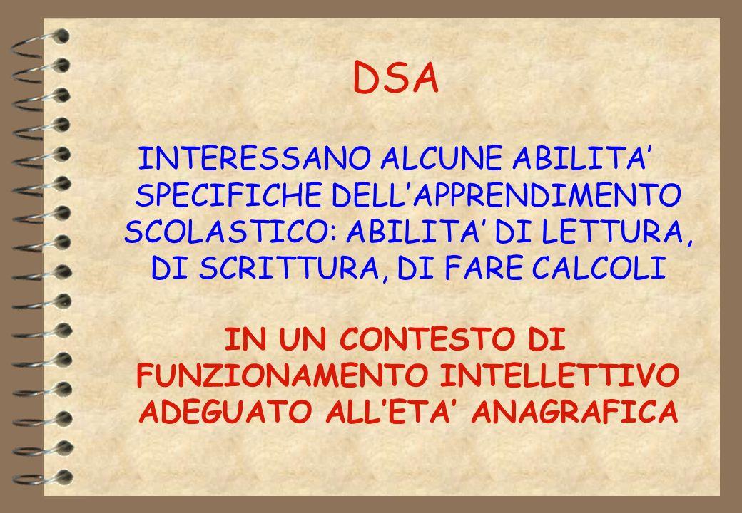 DSA INTERESSANO ALCUNE ABILITA' SPECIFICHE DELL'APPRENDIMENTO SCOLASTICO: ABILITA' DI LETTURA, DI SCRITTURA, DI FARE CALCOLI.