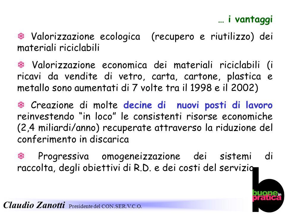 … i vantaggi  Valorizzazione ecologica (recupero e riutilizzo) dei materiali riciclabili.