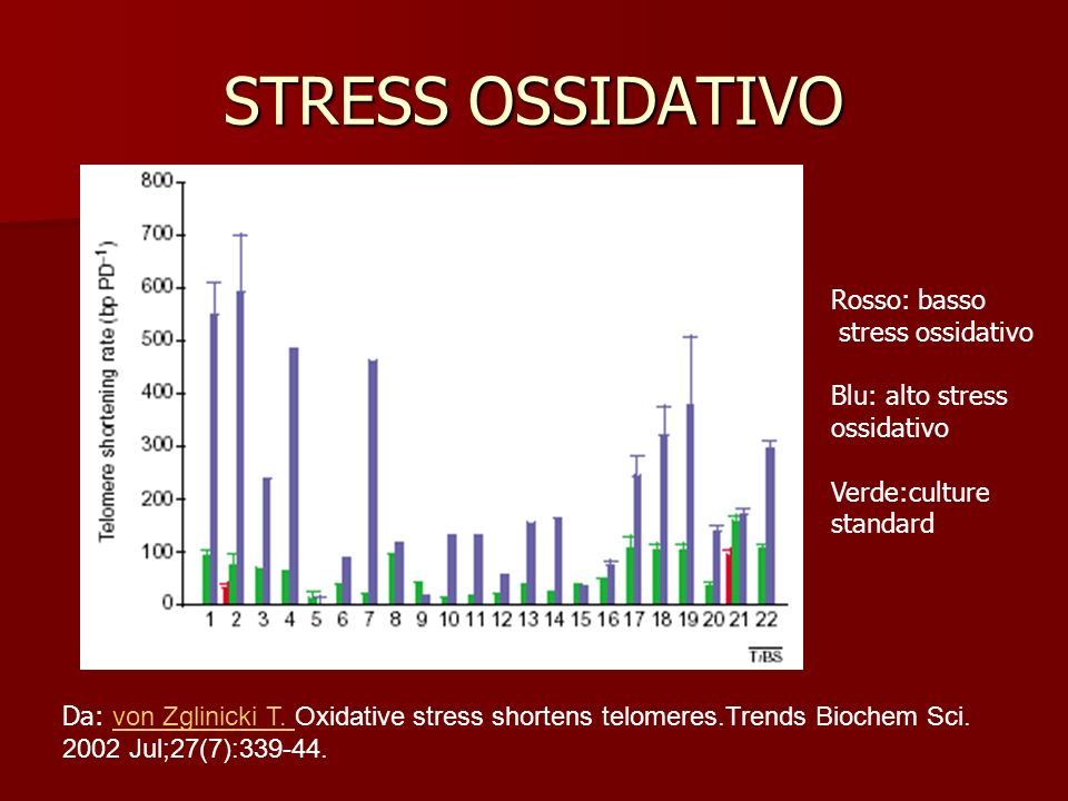 STRESS OSSIDATIVO Rosso: basso stress ossidativo Blu: alto stress