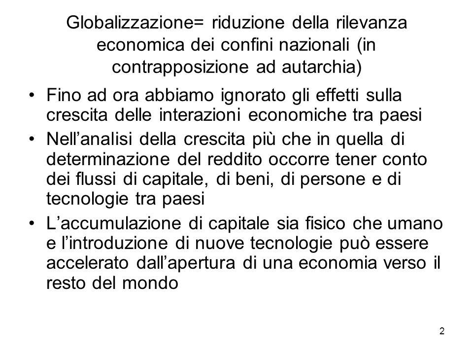 Globalizzazione= riduzione della rilevanza economica dei confini nazionali (in contrapposizione ad autarchia)