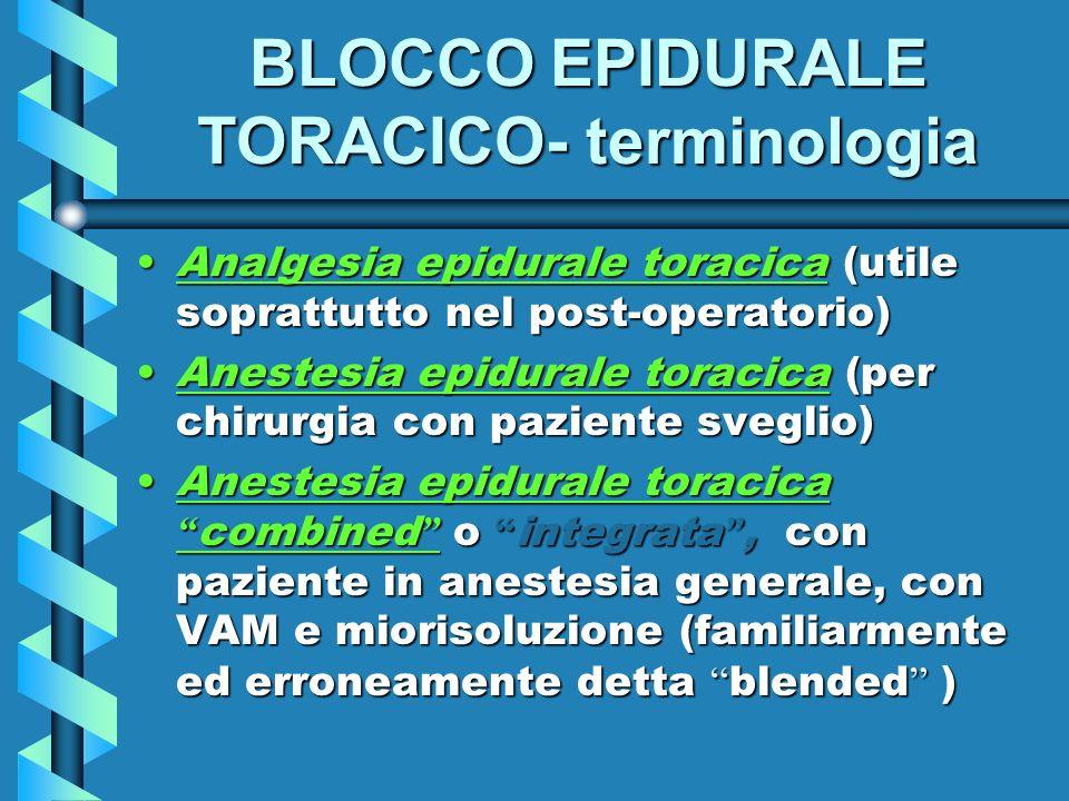 BLOCCO EPIDURALE TORACICO- terminologia
