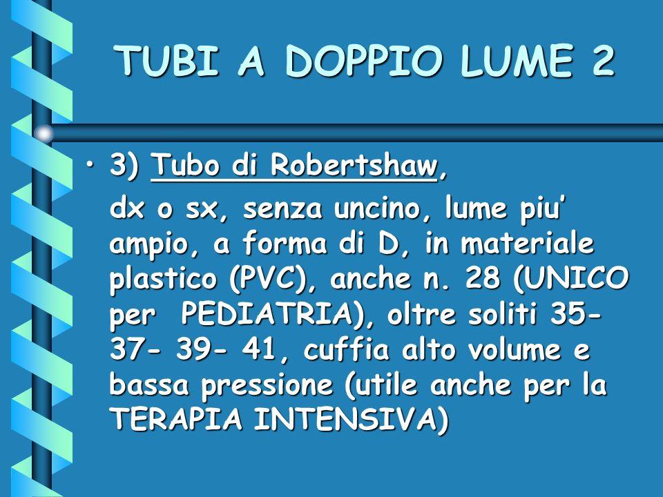TUBI A DOPPIO LUME 2 3) Tubo di Robertshaw,