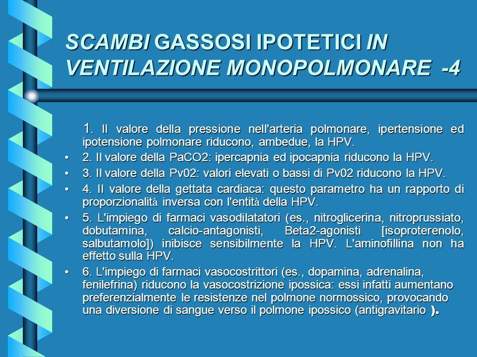 SCAMBI GASSOSI IPOTETICI IN VENTILAZIONE MONOPOLMONARE -4