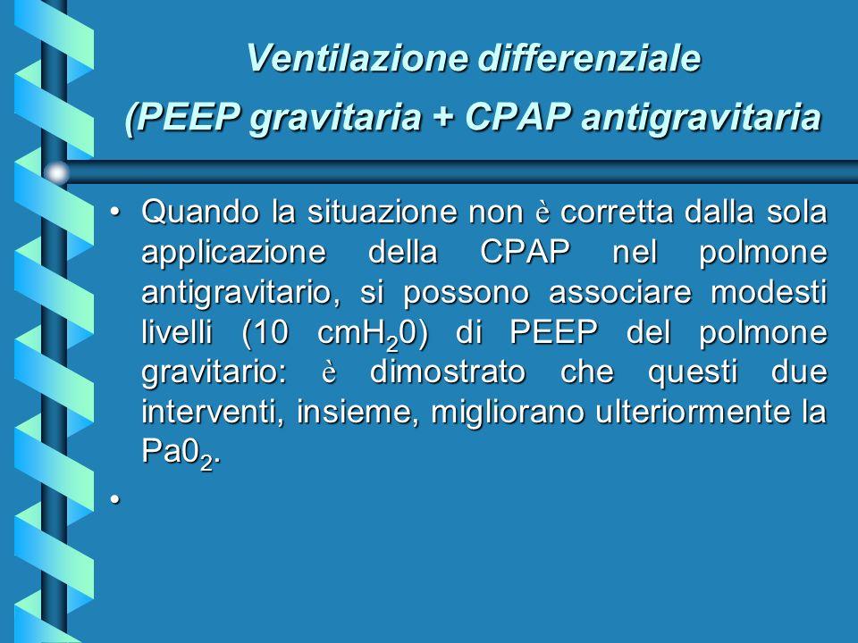 Ventilazione differenziale (PEEP gravitaria + CPAP antigravitaria