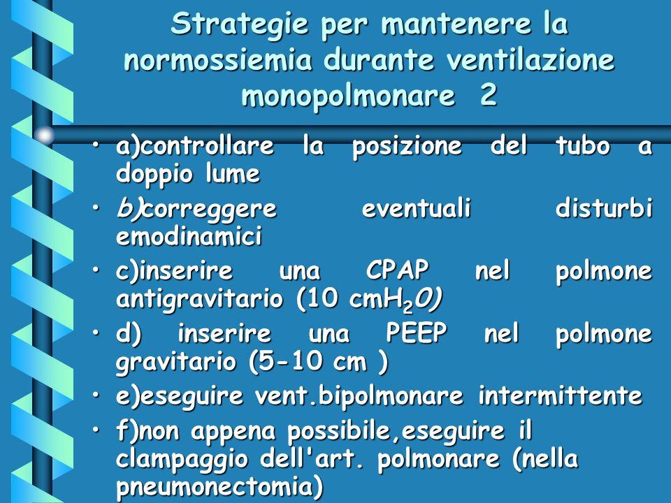 Strategie per mantenere la normossiemia durante ventilazione monopolmonare 2