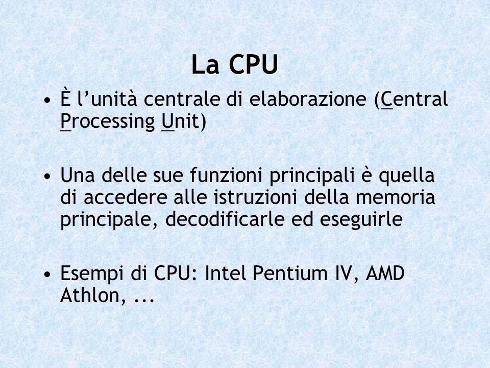 La CPU È l'unità centrale di elaborazione (Central Processing Unit)