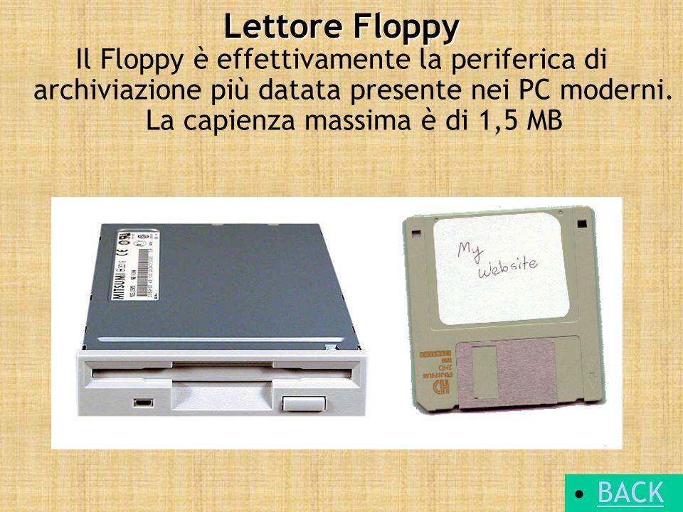 Lettore Floppy Il Floppy è effettivamente la periferica di archiviazione più datata presente nei PC moderni. La capienza massima è di 1,5 MB.